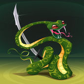 Poisonous snake with saber.  — Vector de stock