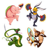 Pig, rabbit, snake and monkey. — Stock Vector