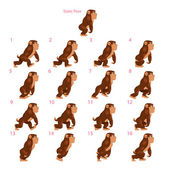 Animation of gorilla walking. — Vector de stock