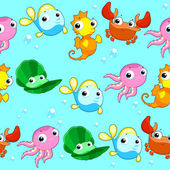 Funny sea animals with background.  — Vector de stock