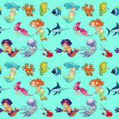 Funny sea animals with mermaids and background.  — Vector de stock