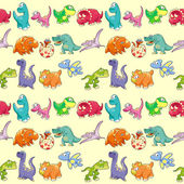 Group of funny dinosaurs with background.  — Vector de stock