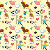 Funny farm animals with background.  — Vector de stock