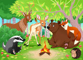 Animales divertidos permanecen juntos en el bosque. — Vector de stock