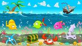 Funny scene under the sea. — Stock Vector