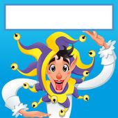 Funny Jocker smiling with white frame. — Stock Vector
