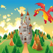 Panorama with medieval castle and dragon. — Stock Vector #9860738