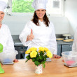 Professional female chefs showing thumbs up — Stock Photo #11514682