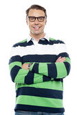 Confident smiling young chap with spectacles — Stock Photo