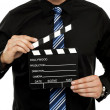 Cropped image of man with clapboard — Stock Photo #13334881