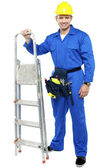 Worker ready to get to work with stepladder — Stock Photo