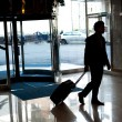 Stock Photo: Man entering hotel lobby with his luggage