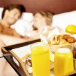 Let's wake up with healthy breakfast sweetheart — Stock Photo