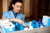 Pretty female housekeeper busy working — Stock Photo