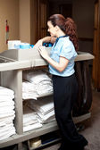 Pretty housekeeping executive busy working — Stock Photo