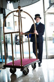 Profile shot of a doorman holding a cart — Stock Photo