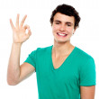 Cheerful young boy showing perfect sign — Stock Photo #13623990