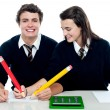 Stock Photo: Girl making corrections on her partners examination paper