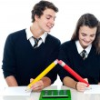 Stock Photo: School boy copying from his fellow student