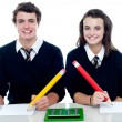 Stock Photo: Studious students ready to take down notes