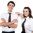 Stock Photo: Snapshot of cheerful teen student friends