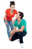 Adorable teenage love couple posing together — Stock Photo