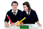 Girl making corrections on her partners examination paper — Foto Stock