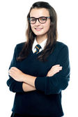 Profile shot of pretty bespectacled teenager — Stock Photo