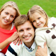 Joyous family of three. Loving and caring — Stock Photo