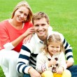 Outdoor happy caucasian family relaxing — Stock Photo #13804152