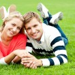 Attractive smiling young couple with strong bonding — Stock Photo