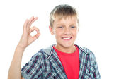 Enthusiastic young student flashing a perfect sign — Stock Photo