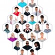 Headshot collection of multiracial group of — Stock Photo