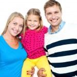 Family portrait on a white background — Stock Photo