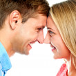 Smiling couple posing. Foreheads touching — Stock Photo