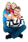 Happy young family, the adorable three — Stock Photo