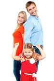 Caucasian family of three, isolated — Stock Photo
