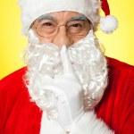 Shh...Aged Santa gesturing silence — Stock Photo