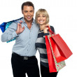 Husband and wife enjoying shopping — Stock Photo