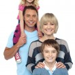 Portrait of happy family of four persons - Foto Stock