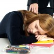 Teacher waking up a dozed off student — Stock Photo