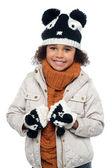 冬の服装の美しい少女の肖像画 — ストック写真