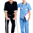 Stockfoto: Physician supporting her courageous patient
