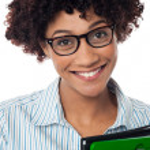 Closeup shot of smiling business executive — Stock Photo