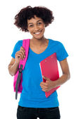 Cheerful student is all set to attend her classes — Stock Photo