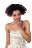Pretty model in party wear stifling her giggle — Stock Photo