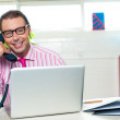 Boss on a business call clinches the deal - 图库照片