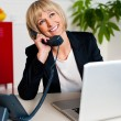 Cheerful lady engaged in a jovial conversation — Stock Photo #19566821