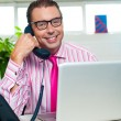 Happy executive engaged on a business call - 图库照片