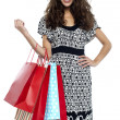 Stock Photo: Shopaholic brunette carrying vibrant color bags